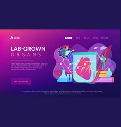 Lab-grown organs concept landing page vector
