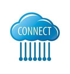 logo connect cloud chip vector image