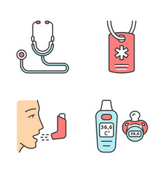 Medical devices color icons set vector
