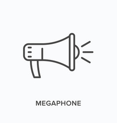 Megaphone flat line icon outline vector