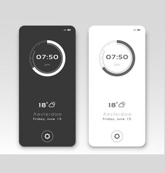 mobile application interface design clock vector image