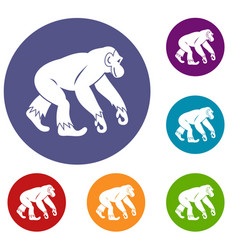 Monkey standing icons set vector