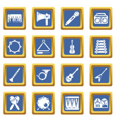 musical instruments icons set blue square vector image