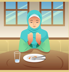 Muslim woman praying after eating vector