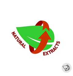 Natural extracts green leaf eco sign badge vector image