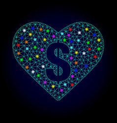 Network mesh love price with glowing spots vector