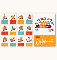new year 2018 colorful calendar template set vector image