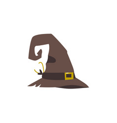 Old shabby worn out witch wizrd pointed hat vector