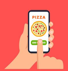 Online pizza ordering flat vector