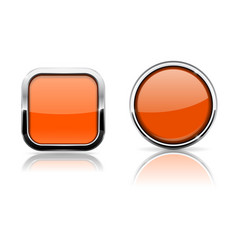 Orange buttons shiny glass square and round vector