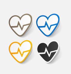 Paper sticker heartbeat sign heart with pulse vector