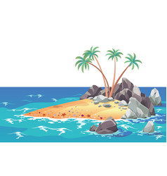 pirate ocean island in cartoon style palm trees vector image