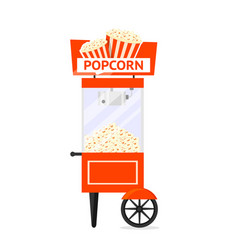 Popcorn cart machine flat vector
