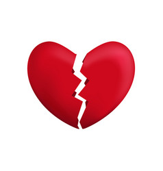 realistic detailed 3d red broken heart vector image