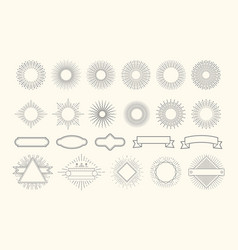 retro starburst set vintage sunburst graphic vector image