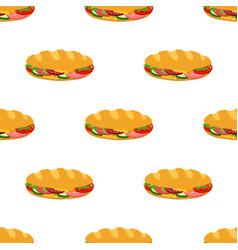 sandwich seamless pattern cartoon flat vector image