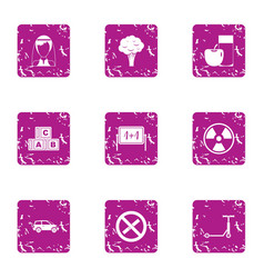 School education icons set grunge style vector