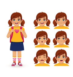 School girl emotions vector