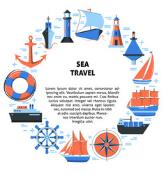 Sea travel round concept with ship icons in flat vector