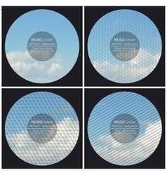 Set of 4 music album cover templates Blue cloudy vector