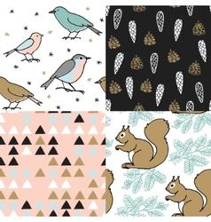 Set of Christmas seamless patterns Cute festive vector image