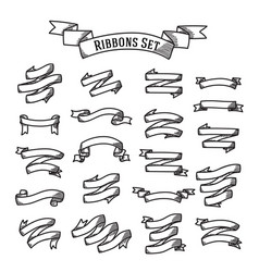 set - ribbons in handdrawn engraving style vector image