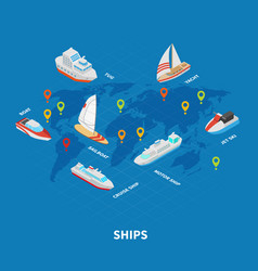 Ships isometric infographics vector