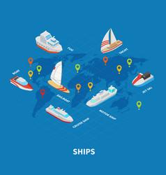 ships isometric infographics vector image