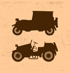 Silhouettes of vintage retro cars vector