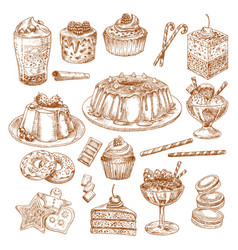 sketch icons of cake desserts and pastry vector image