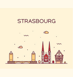 strasbourg city skyline grand est france vector image