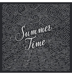 Summertime Handwritten phrase on an abstract vector