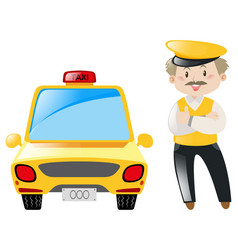 Taxi driver and yellow cab vector