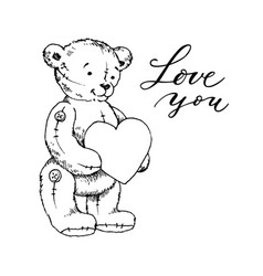 teddy bear toy with heart coloring book vector image