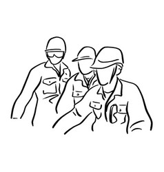 three engineer worker with hard hat vector image