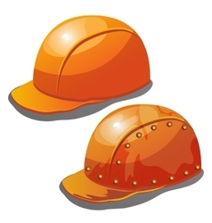 Two yellow safety hard hat on a white background vector