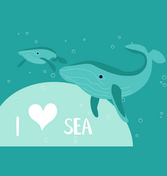 Underwater scene with mother and baby blue whale vector