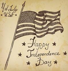 Usa waving flag American symbol forth of july Hand vector