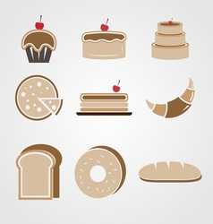 Variety of bakery color icons vector image
