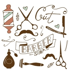 Vintage barber shop objects collection vector