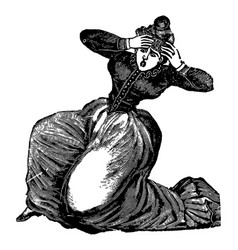 Vintage engraving a lady in panic vector