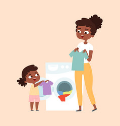 Washing clothing parents children cleaning house vector
