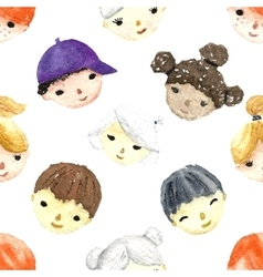 Watercolor children faces vector