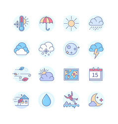 weather mobile app - line design style icons set vector image
