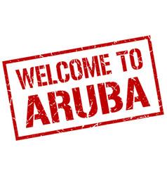 Welcome to aruba stamp vector
