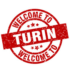 Welcome to turin red stamp vector
