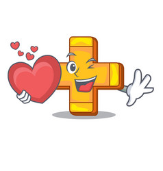 With heart retro plus sign addition symbol cartoon vector