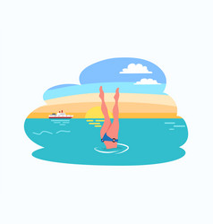 woman diving legs up dive in bikini suit at sunset vector image