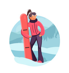 Woman with snowboard vector