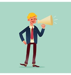 businessman speaking through megaphone cartoon vector image